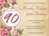 90th Birthday Invites Templates 90th Birthday Invitation Wording 365greetings Com