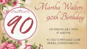 90th Birthday Invites Templates