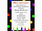 95th Birthday Party Invitations 95th Birthday Party Invitation Candles and Dots 13 Cm X