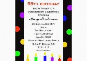 95th Birthday Party Invitations Invitation Candles And Dots 13 Cm X