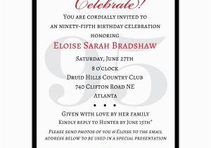95th Birthday Party Invitations Classic Celebrate Paperstyle