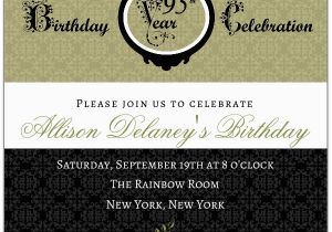 95th Birthday Party Invitations Damask Paperstyle