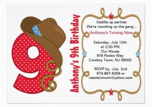 9th Birthday Invitation Wording Cards