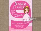 9th Birthday Invitation Wording 9th Birthday Invitation Pink Princess Invitation Nifty