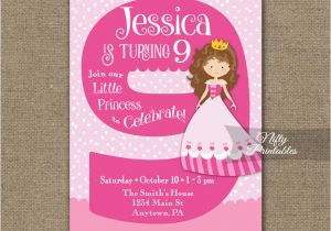 9th Birthday Invitation Wording Pink Princess Nifty