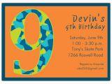 9th Birthday Invitation Wording Birthday Boy Camo 9th Birthday Invitations Paperstyle