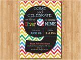 9th Birthday Invitation Wording Rainbow 9th Birthday Invitation Colorful Chevron Birthday