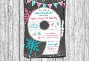 9th Birthday Invitation Wording Winter Wonderland Age 9