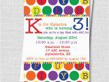 Abc Birthday Cards Abc Birthday Party Invite Rainbow Alphabet Party Birthday
