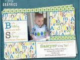 Abc Birthday Cards Alphabet Birthday Party Abc Photo Card Invitation Any