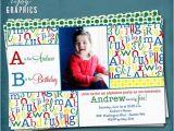 Abc Birthday Cards Alphabet Photo Birthday Invitation Abc Library Party