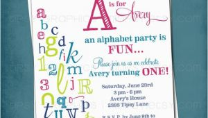 Abc Birthday Invitations Alphabet Birthday Invitation Colorful Abc Library Invite