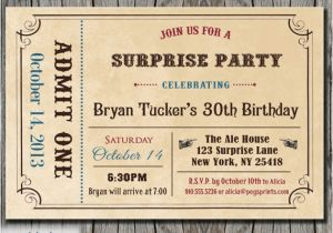 Admit One Birthday Invitations Printable 6 Best Images Of Free