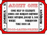 Admit One Birthday Invitations Printable Admit One Template for Invitation