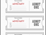Admit One Birthday Invitations Printable Admit One Ticket Template Example Mughals