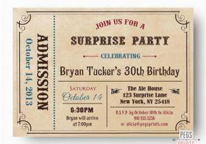 Admit One Birthday Invitations Printable Adult Surprise Invite Ticket