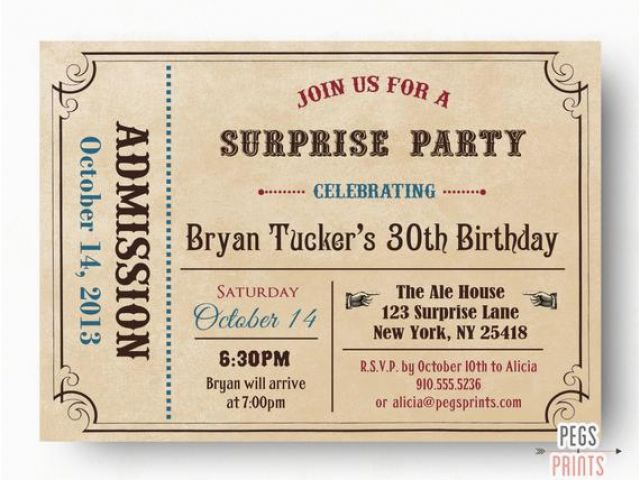 96 Admit One Birthday Invitations Printable Admit One Party