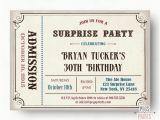 Admit One Birthday Invitations Printable Male Surprise Birthday Invite Surprise Birthday