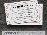 Admit One Ticket Birthday Invitation Black and White Printable Admit One Tickets Free