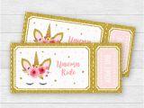 Admit One Ticket Birthday Invitation Unicorn Birthday Party Ride Tickets Admit One Pink