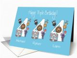 Age Specific Birthday Cards Birthday 4 Year Old Triplets 3 Boys with Custom Names