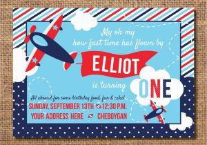 Airplane 1st Birthday Invitations Airplane Birthday Invitation First Birthday Boy Invitation