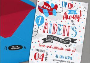 Airplane 1st Birthday Invitations Airplane Birthday Invitation Printable Invitation