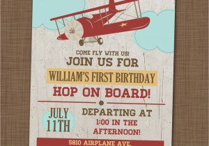 Airplane 1st Birthday Invitations Airplane Birthday Party Invitation First Birthday by