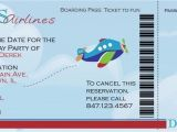 Airplane Boarding Pass Birthday Invitations Airplane Boarding Pass Birthday Invitation