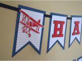 Airplane Happy Birthday Banner Birthday Banner Vintage Airplane Banner