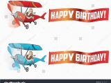 Airplane Happy Birthday Banner Flying Aircraft with Happy Birthday Banner Stock Vector