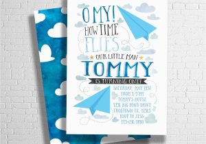 Airplane Themed Birthday Party Invitations Invitation Paper Invite BirthdayBuzz