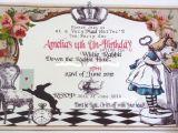 Alice and Wonderland Birthday Invitations Alice In Wonderland Birthday Invitation Cimvitation
