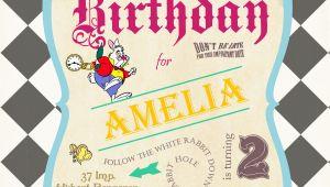 Alice and Wonderland Birthday Invitations Alice In Wonderland Birthday Invitations Drevio