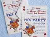 Alice and Wonderland Birthday Invitations Alice In Wonderland Un Birthday Tea Party Invitations Thank