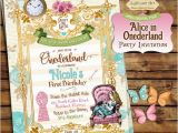 Alice In Wonderland 1st Birthday Invitations Alice In Onederland Invitation Alice In Wonderland