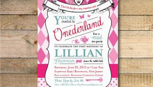 Alice In Wonderland 1st Birthday Invitations Alice In Wonderland Invitation 1st Birthday Party