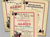 Alice In Wonderland Birthday Invites Items Similar to Playing Card Alice In Wonderland