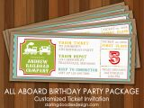 All Aboard Birthday Invitation All Aboard the Party Train Darling Doodles