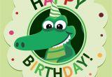 Alligator Birthday Card Birthday Cartoon Crocodile Card Vector Download