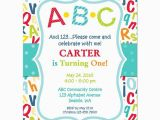 Alphabet Birthday Invitations Abc 123 Birthday Party Invitation Abc Pinterest