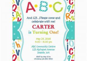 Alphabet Birthday Invitations Abc 123 Birthday Party Invitation Abc Pinterest