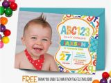 Alphabet Birthday Invitations Abc Birthday Invitation First Birthday Party by