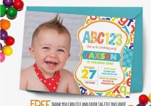 Alphabet Birthday Invitations Abc Birthday Invitation First Birthday Party by