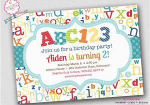 Alphabet Birthday Invitations Abc123 Alphabet theme Birthday Party Invitation by