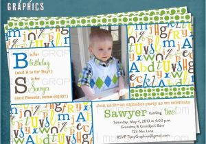 Alphabet Birthday Invitations Alphabet Birthday Party Abc Photo Card Invitation Any Colors