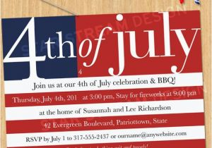 American Flag Birthday Invitations Us Flag Fourth Of July Party Invitation Printable Evite