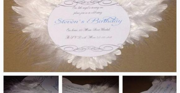 Angel themed Birthday Party Invitations Angel Birthday Invitation Christening Invitation Baptism
