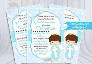 Angel themed Birthday Party Invitations Baptism Invitations Boy Boy First Communion Invitation