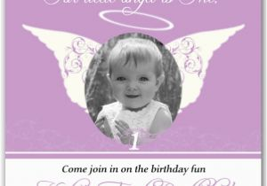 Angel themed Birthday Party Invitations Little Angel Lavender Photo Birthday Invitations Paperstyle